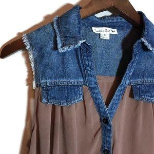 Double zero jean vest brown sheer small